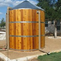 wooden water collection tank